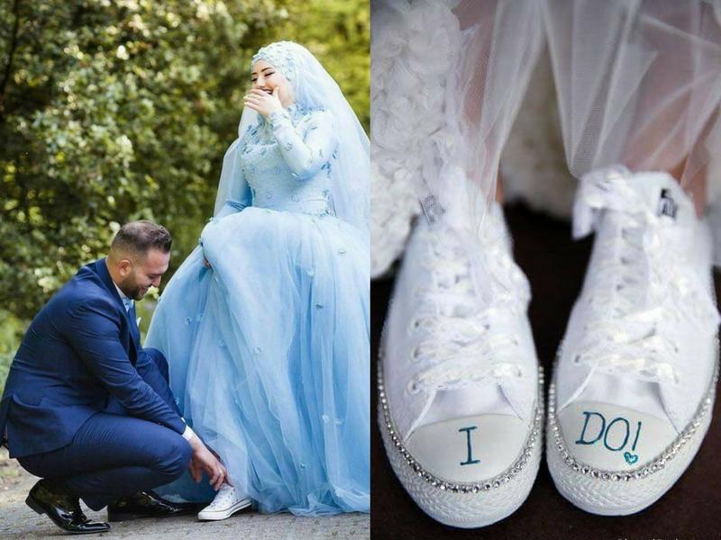 Fuyo! Uniknya Kahwin Pakai Sneakers, Ada Berani?